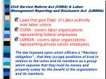 civil service reform act csra labor management reporting and disclosure act lmrda