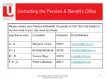 contacting the pension benefits office