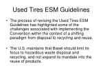 used tires esm guidelines