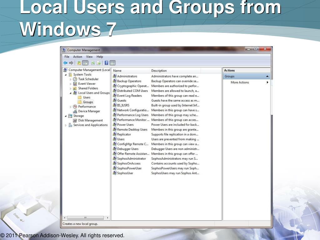 Local Users and Groups from Windows 7