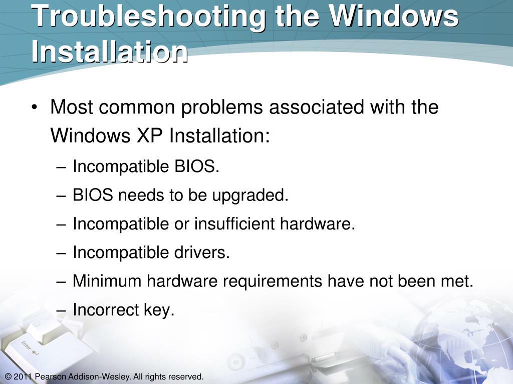 Troubleshooting the Windows Installation