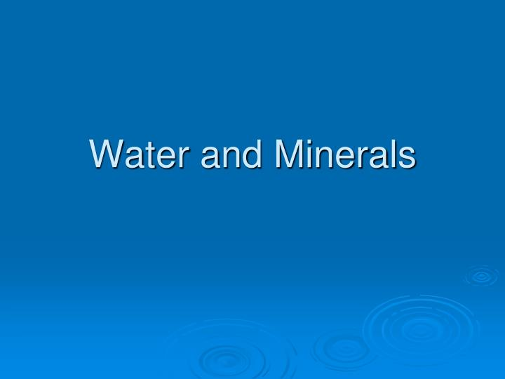 water and minerals n.