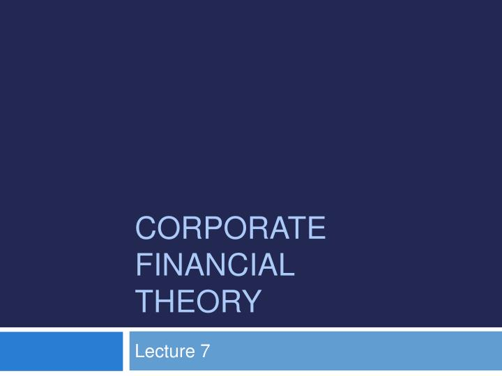 corporate financial theory n.