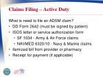 claims filing active duty