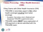 claims processing other health insurance ohi
