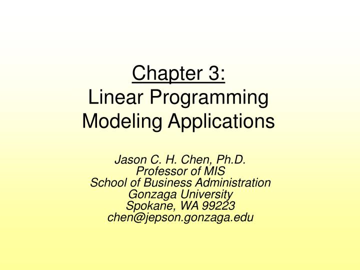 chapter 3 linear programming modeling applications n.