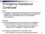 emergency assistance continued