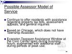 possible assessor model of service