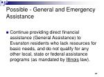possible general and emergency assistance