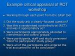 example critical appraisal of rct workshop