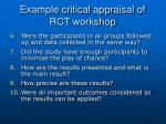 example critical appraisal of rct workshop1