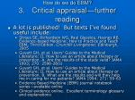 how do we do ebm 3 critical appraisal further reading