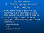 how do we do ebm 3 critical appraisal other study designs