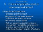 how do we do ebm 3 critical appraisal what is economic evidence3
