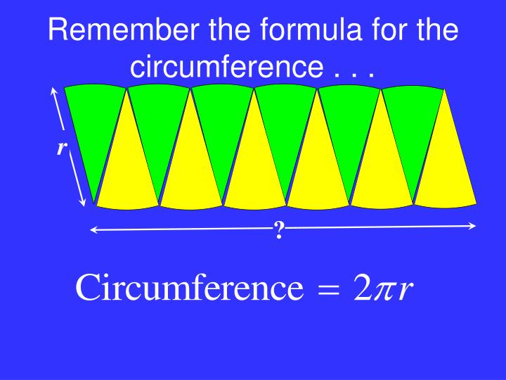 Remember the formula for the circumference . . .
