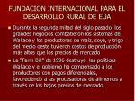fundacion internacional para el desarrollo rural de eua