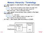 memory hierarchy terminology