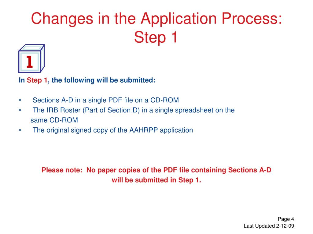 Changes in the Application Process: Step 1