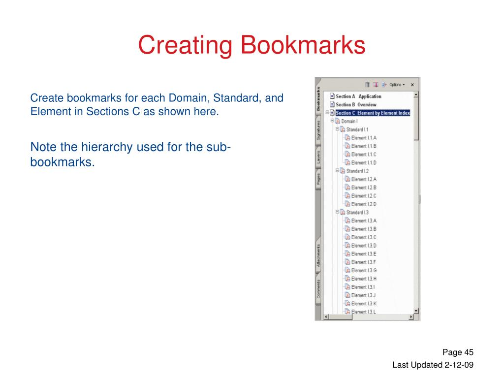 Create bookmarks for each Domain, Standard, and Element in Sections C as shown here.