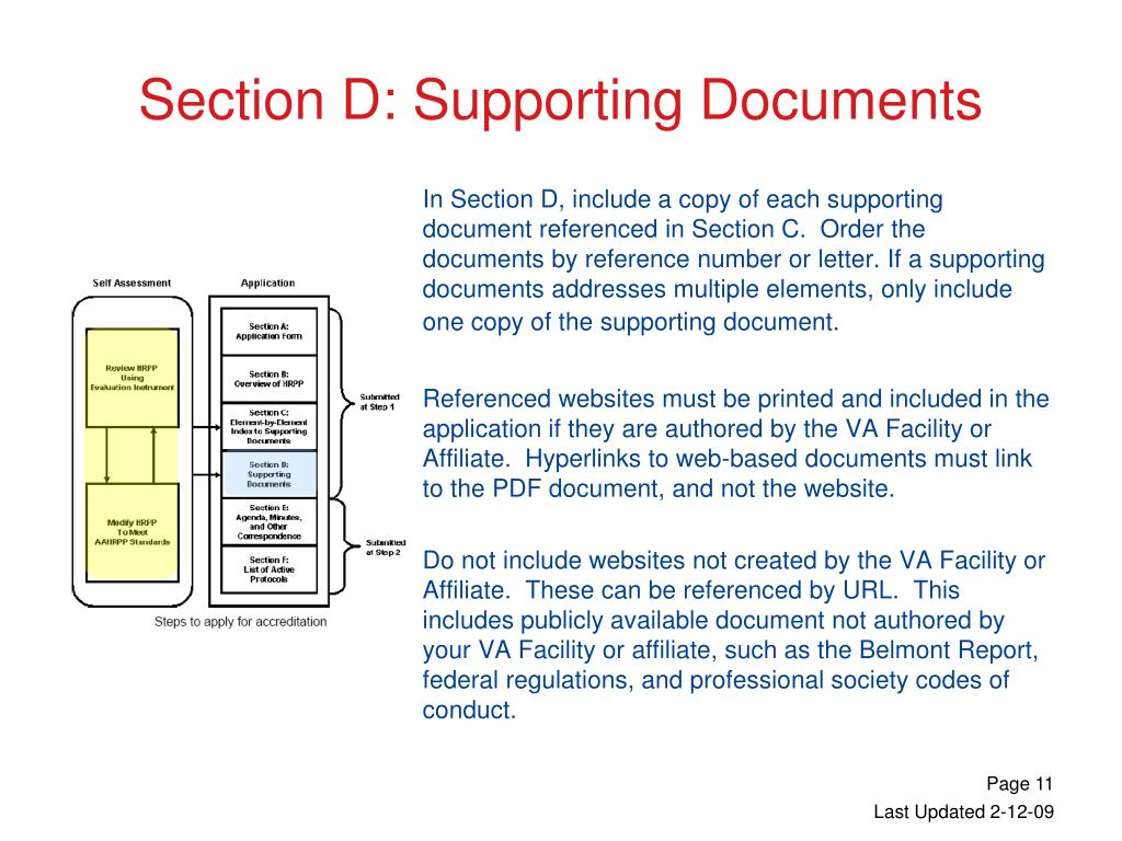 In Section D, include a copy of each supporting document referenced in Section C.  Order the documents by reference number or letter. If a supporting documents addresses multiple elements, only include one copy of the supporting document.