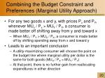 combining the budget constraint and preferences marginal utility approach1
