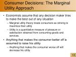 consumer decisions the marginal utility approach