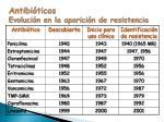 antibi ticos evoluci n en la aparici n de resistencia