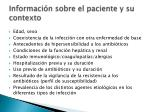 informaci n sobre el paciente y su contexto