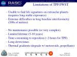 limitations of tpf jwst