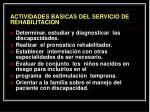 actividades basicas del servicio de rehabilitacion