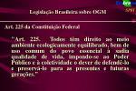 legisla o brasileira sobre ogm