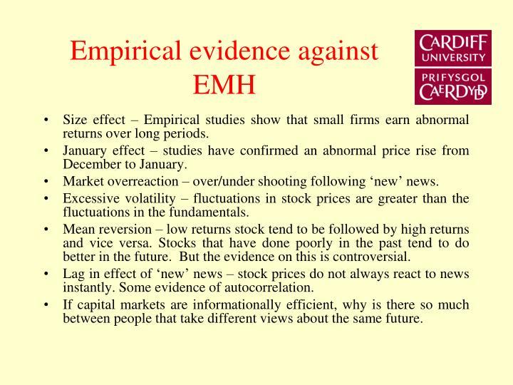 Empirical evidence against EMH