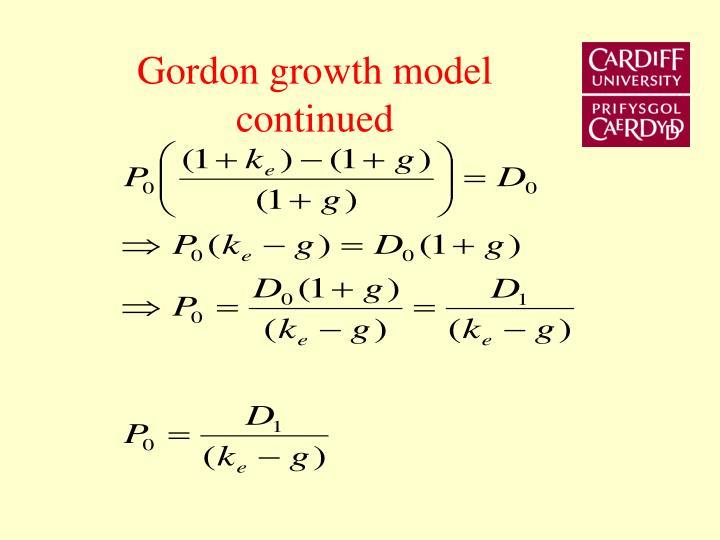 Gordon growth model continued