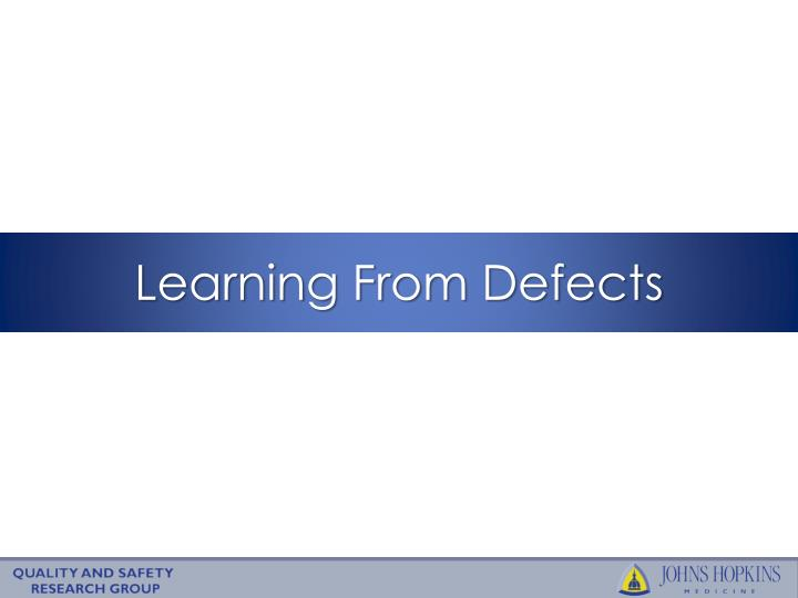 learning from defects n.