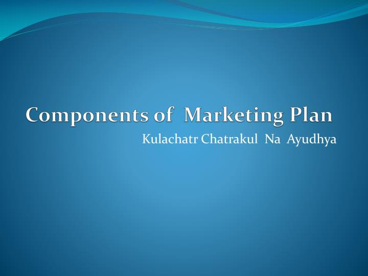components of marketing plan n.
