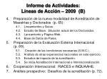 informe de actividades l neas de acci n 2009 b