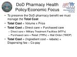 dod pharmacy health policy economic focus