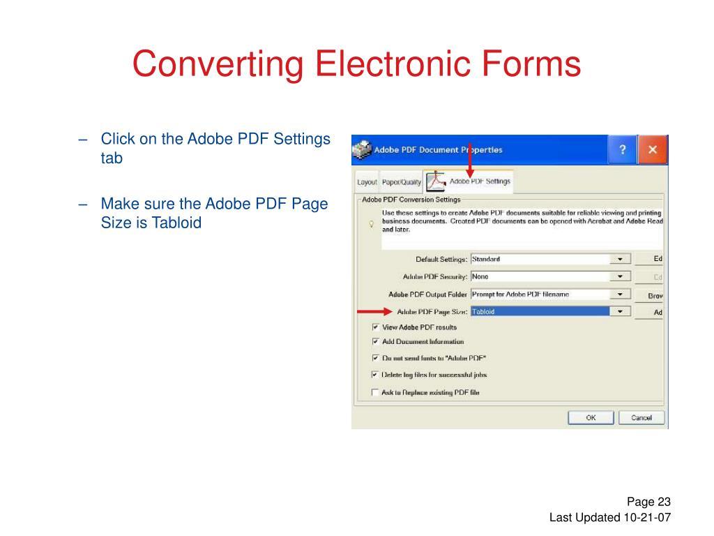 Click on the Adobe PDF Settings tab