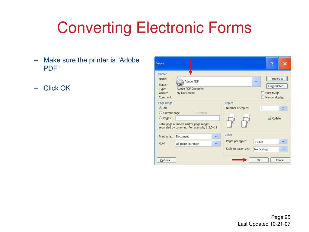 "Make sure the printer is ""Adobe PDF"""