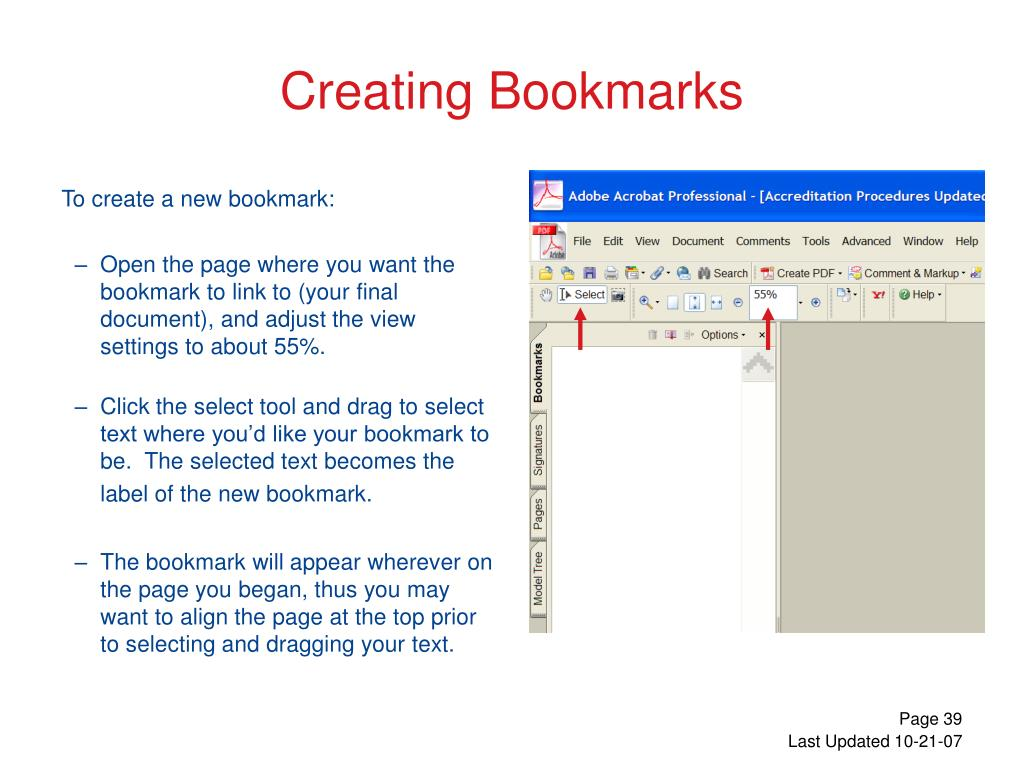 To create a new bookmark: