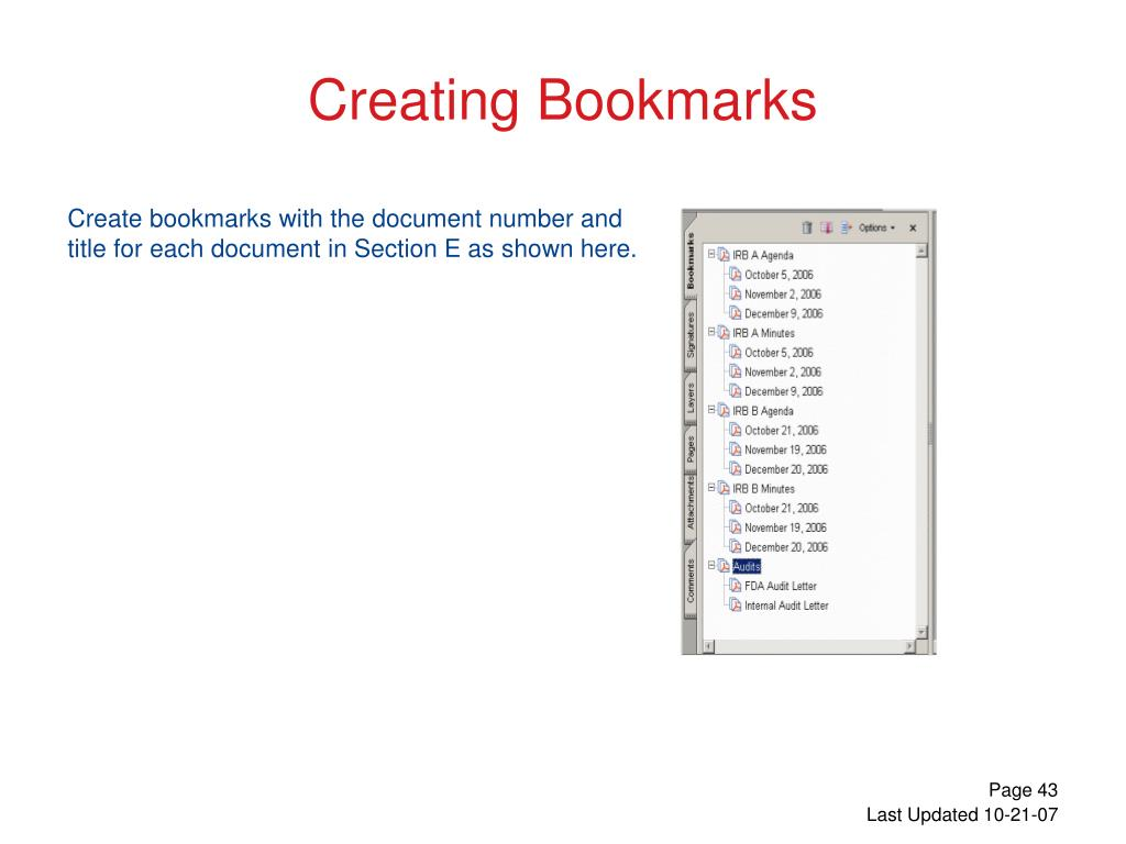 Create bookmarks with the document number and title for each document in Section E as shown here.