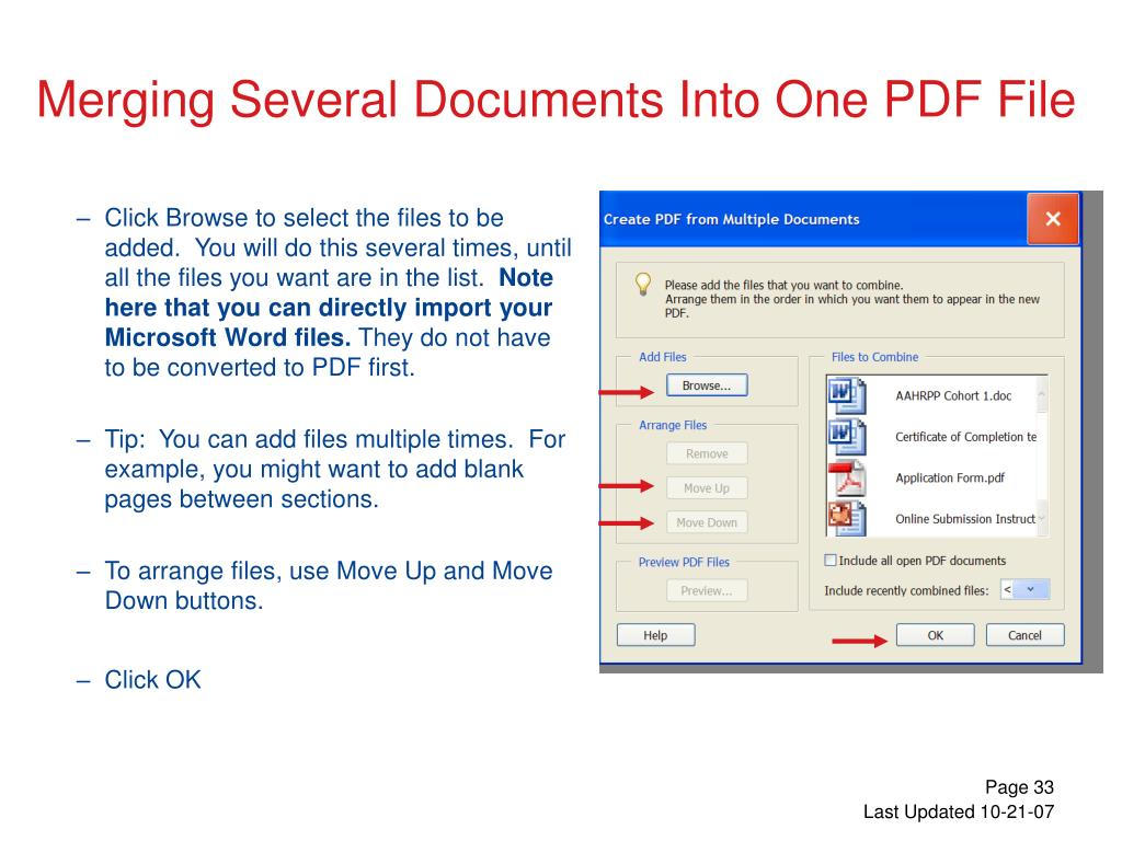 Click Browse to select the files to be added.  You will do this several times, until all the files you want are in the list.