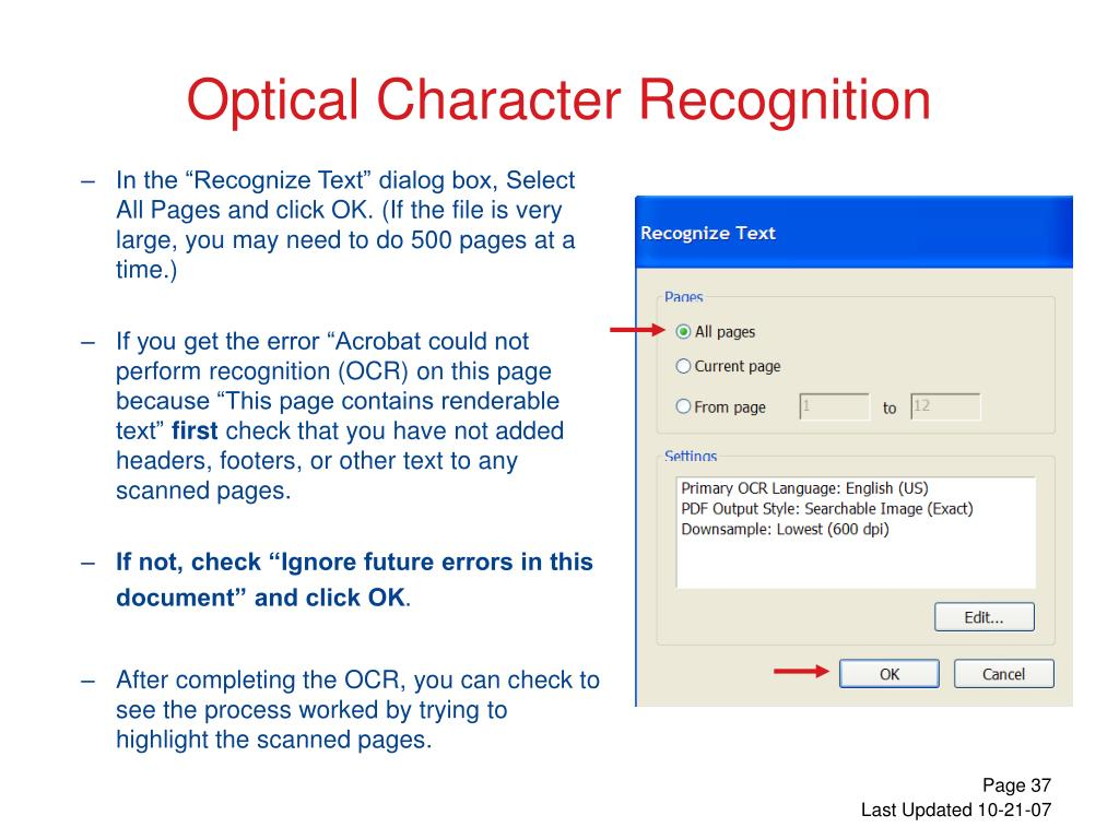 """In the """"Recognize Text"""" dialog box, Select All Pages and click OK. (If the file is very large, you may need to do 500 pages at a time.)"""