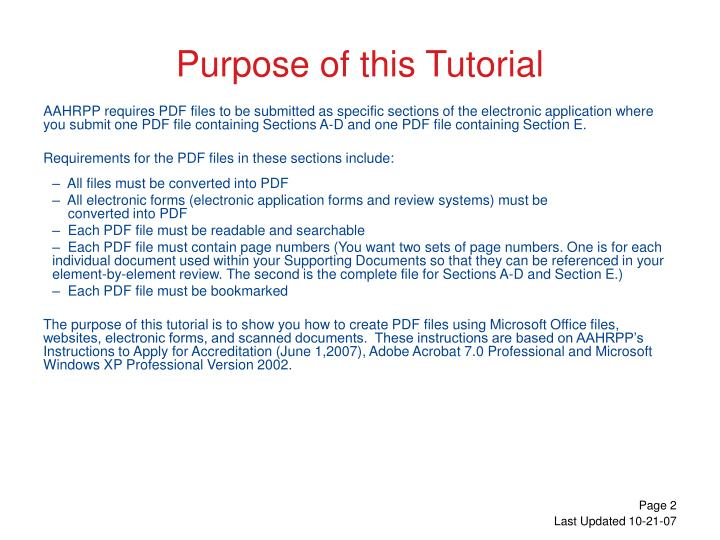 Purpose of this tutorial