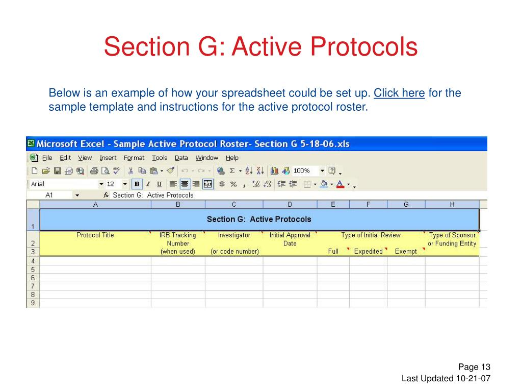 Section G: Active Protocols