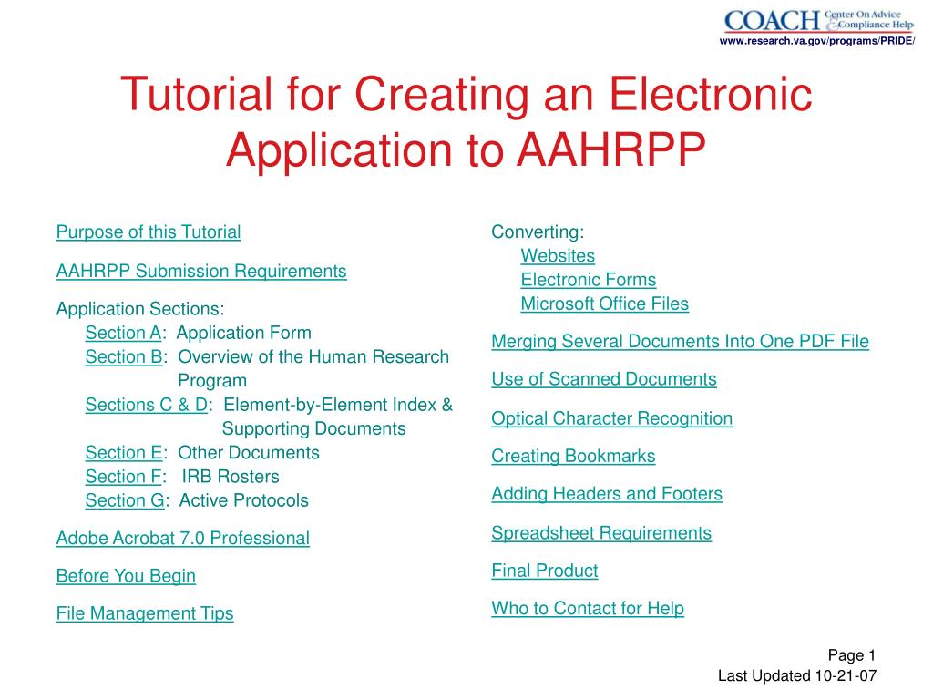 tutorial for creating an electronic application to aahrpp l.