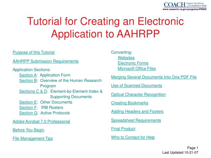 Tutorial for creating an electronic application to aahrpp