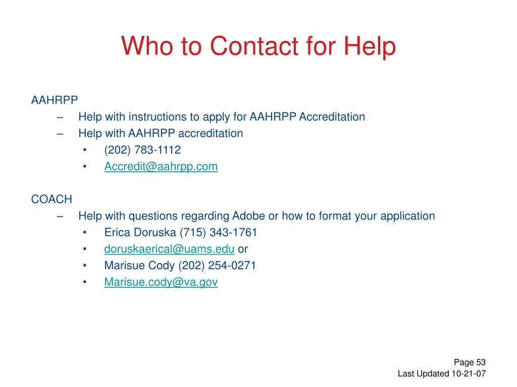 Who to Contact for Help