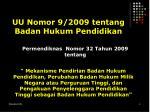 uu nomor 9 2009 tentang badan hukum pendidikan