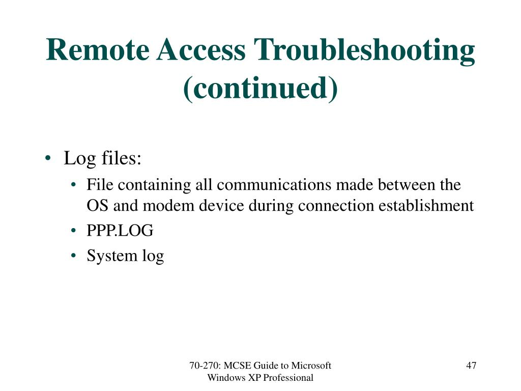 Remote Access Troubleshooting (continued)